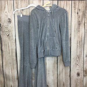 Hollister Gray Zip Up Hoodie Jacket And Pant Set